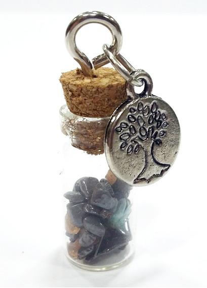 Pingente Vidrinho C/pedra Hematita E Medalha Árvore Da Vida