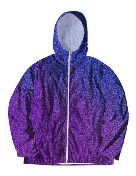 Jaqueta Corta Vento Touca Zíper Estampado Glitter Violeta