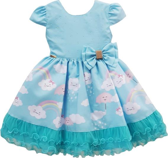 Vestido Infantil Chuva De Amor Benção Festa Luxo Promoção