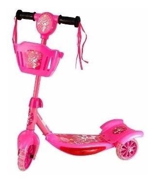 Patinete Infantil Scooter 3 Rodas Meninas Com Luz E Som