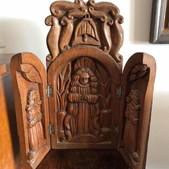 Arte Sacra Antigo Oratório Nossa Senhora Madeira Esculpido