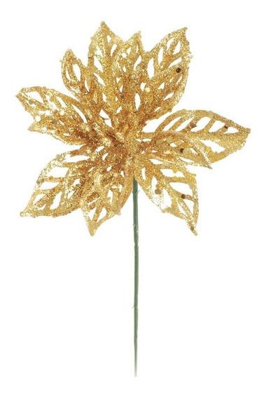 Flor Decoração Natal Poinsetia Glitter Dourado