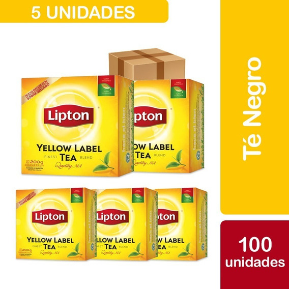 5 Cajas De 100 Unidades Te Lipton Yellow Label