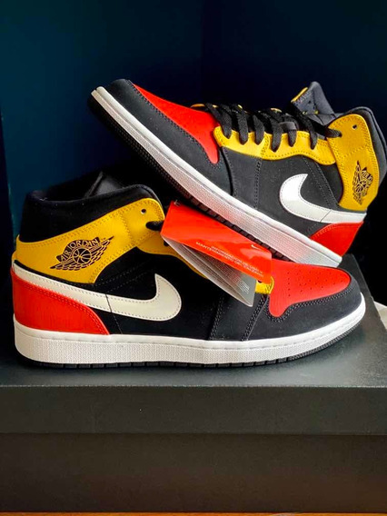 Jordan 1 Black Amarillo Orange Mid Originales Ds