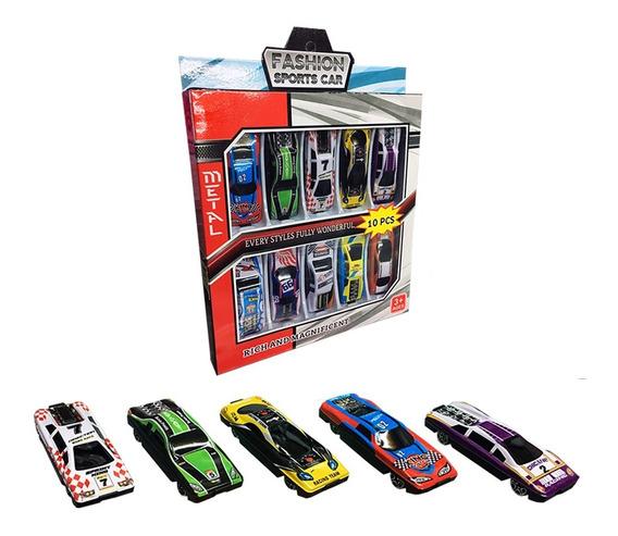 Autitos Carcasa De Metal Set X10 Autos Diferentes De Carrera