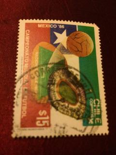 Estampilla De Chile Sobre Mexico86