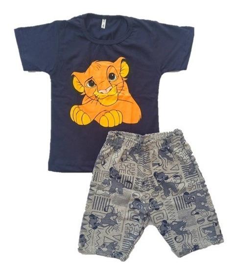 Conjunto Infantil Menino Rei Leão Simba Roupa - Tam 2 A 10