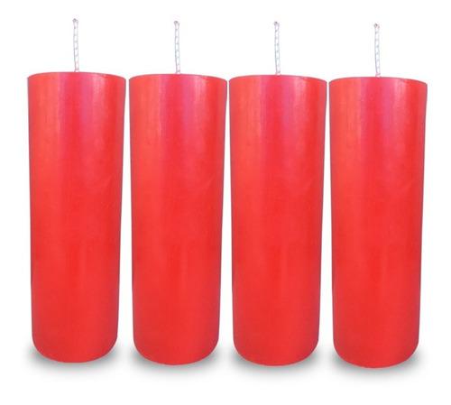 Kit 4 Velas Votivas 7 Sete Dias Colorida Vermelha