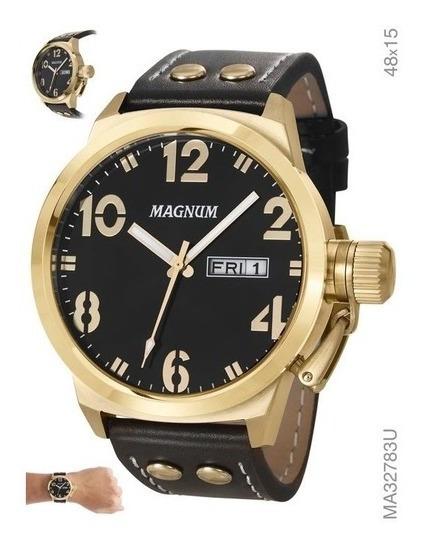 Relógio Masculino Em Couro Magnum Ma32783u Dourado