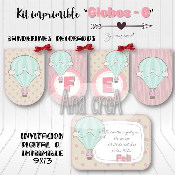 Kit Personalizado Globos Y Elefantito -mod. 6- Imprimible