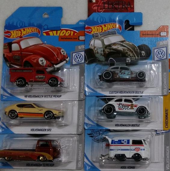 Hot Wheels Lote 6 Miniaturas Volkswagen Kombi Fusca