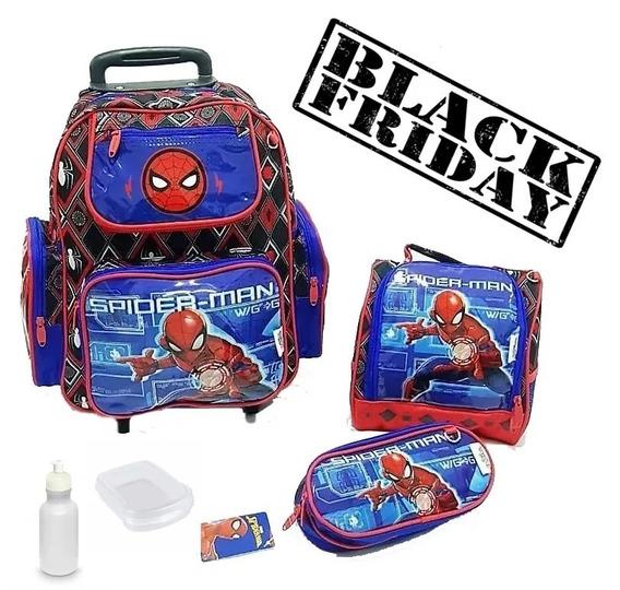 Mochila Escolar Infantil Rodinhas Homem Aranha Spider