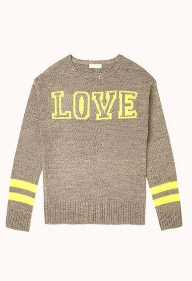 Sweater Forever 21 Niña Love Talle 6 Importado - 3655