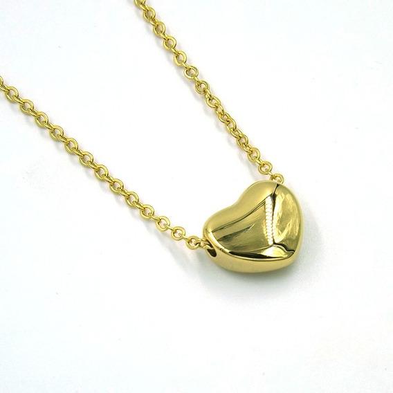 Collar De Acero Mini Corazón Inflado Dorado