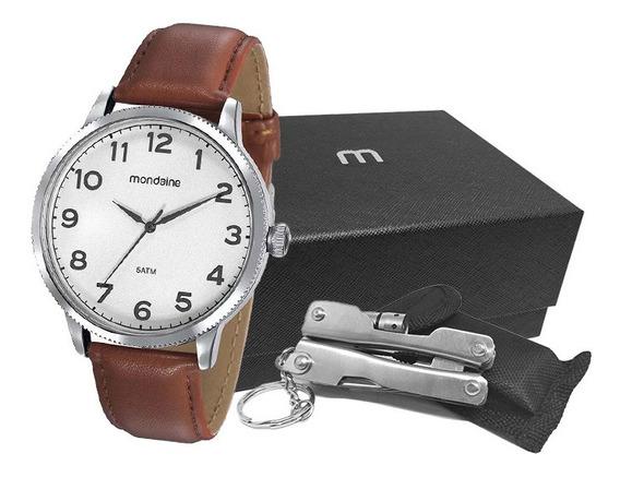 Relógio Mondaine Kit Masculino Prata/couro 99410g0mvnh1k1