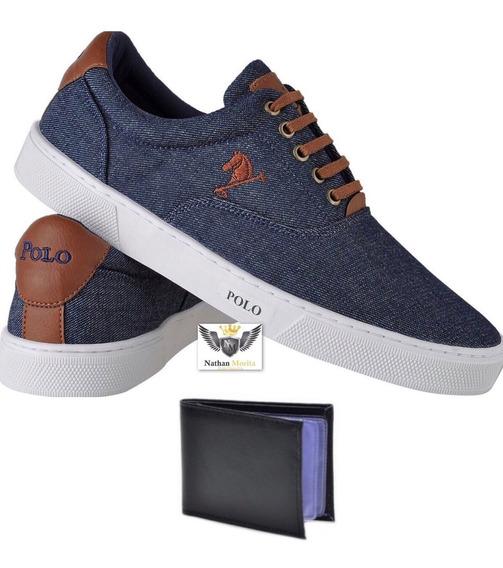 Tenis Sapatenis Polo Masculino Sapato Casual + Carteira