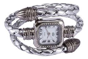 Relógio Feminino Bracelete Cl Com Pulseira Em Couro - Prata