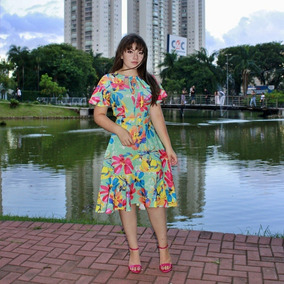 Vestido Moda Evangélica Evase Floral Cinto Sandrinha