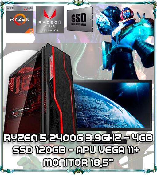 Cpu Gamer Ryzen 5 2400g Quad Core 3.9ghz Ddr4 Tela 18,5 009