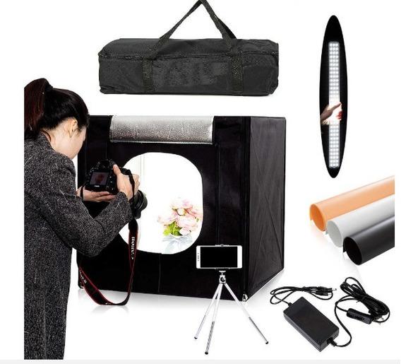Mini Estúdio Fotográfico 40x40 Lâmpada Bivolt Led + Bolsa