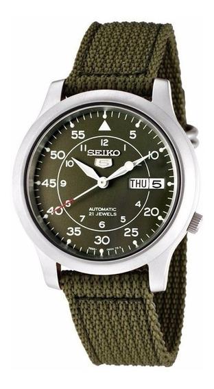 Reloj Seiko 5 Automático 21 Jewels Canvas Verde Snk805