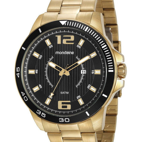 #1253809289 Relógio Mondaine Masculino Dourado 99283gpmvds1