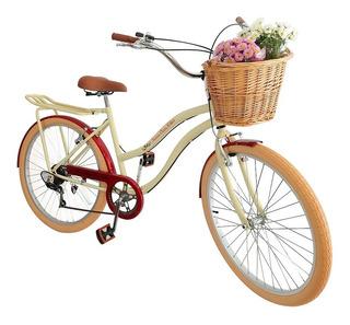Bicicleta Aro 26 Retrô Vintage Feminina Cesta Vime Bagageir