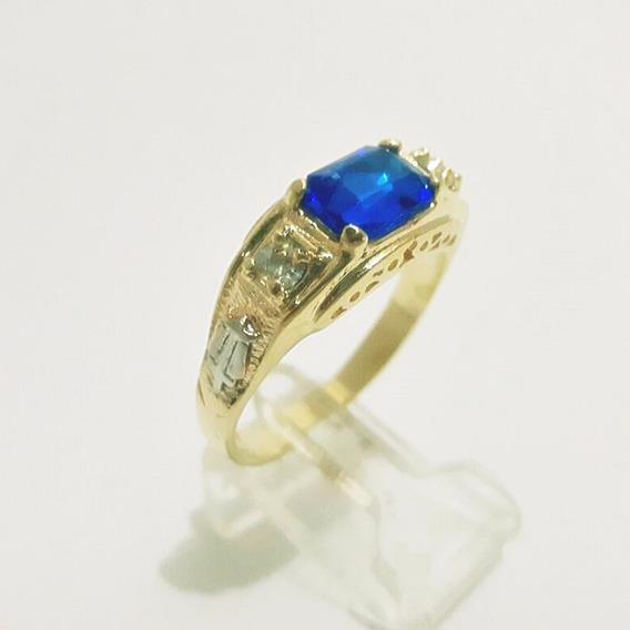 Anel Formatura Azul Safira Banhado A Ouro 18k Promoção