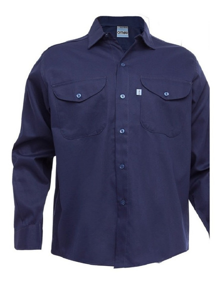 Camisa De Trabajo Ombu Grafa Azul / Beige 100% Original