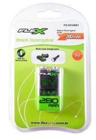 Bateria Recarregável 9vts 280mah Para Até 1000 Cargas