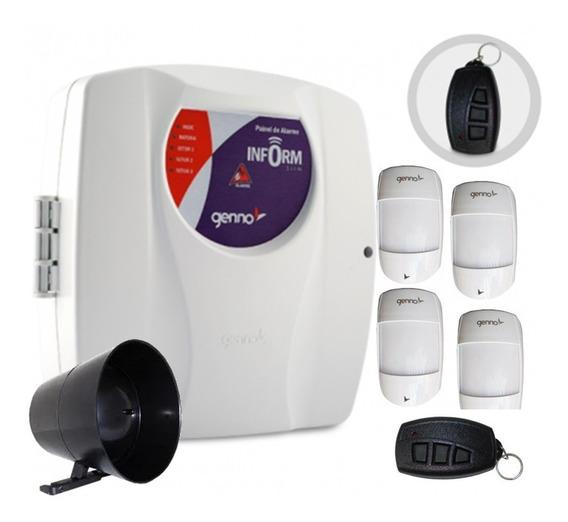 Kit Alarme Residencia Genno 2 Tx + 4 Ivp S/ Fio + Sirene