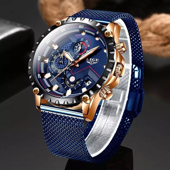 Relógio Masculino Lige 2020 Pulseira De Aço Inoxidável Cronó