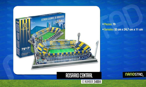 Maqueta Estadio 3d Para Armar C/luces Cancha Rosario Central