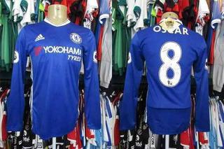 Chelsea 2016 Camisa Titular Tamanho G Mangas Longas #8 Oscar