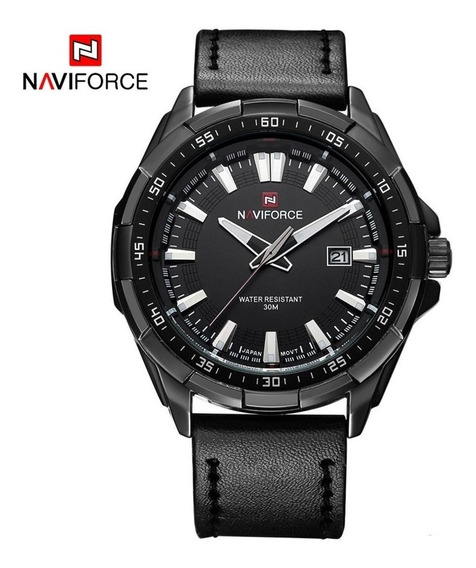 Relógio Militar Naviforce Original Nf9056 Couro Legitimo Pt