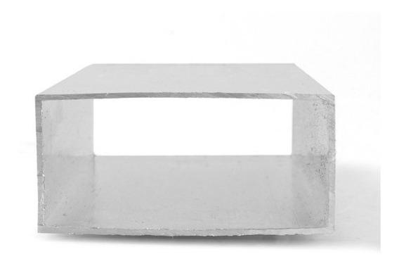 Tubo Retangular 75mmx37,5mm Alumínio Branco