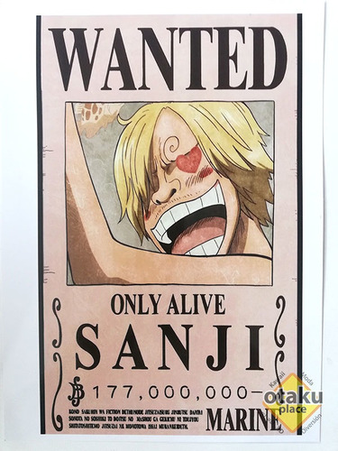 Poster One Piece Mediano Wanted De Sanji