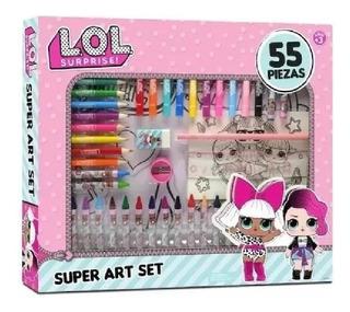 Set De Arte Infantil Muñeca Lol Colorear Pintura Crayon Niña