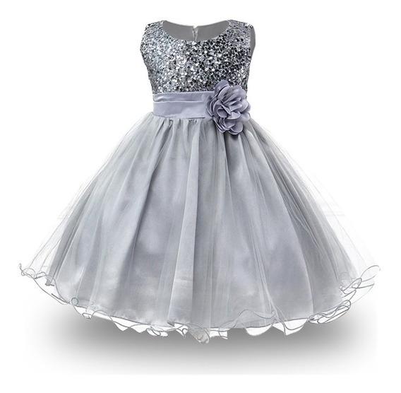 Vestido Lentejuela Elegante Fiesta, Talla 5 - 8 Anos