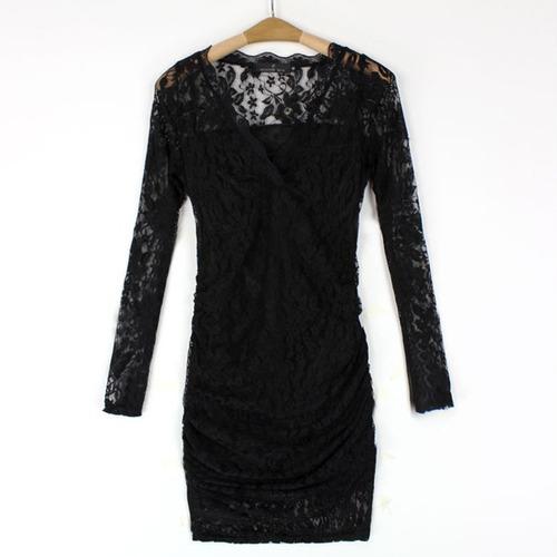Vestido Con Encaje Negro Talla S Importado Nuevo