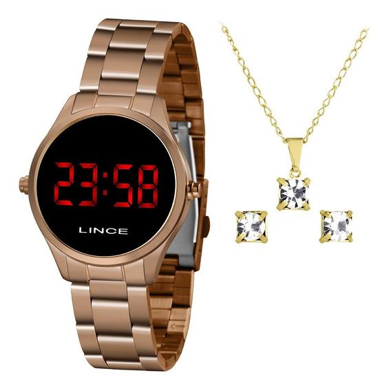 Kit Relógio Lince Digital Led Feminino Mdr4618l Vxrx C/ Nfe