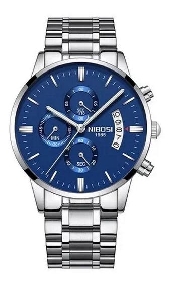 Relógio Nibosi Masculino Original Luxo Todo Funcional Azul