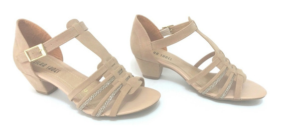 Sandalia Salto Grosso Baixo Super Confortavel Nude Shoes