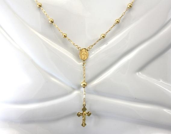 Colar Corrente Terço Cruz Crucifixo Ouro Amarelo 18k D845