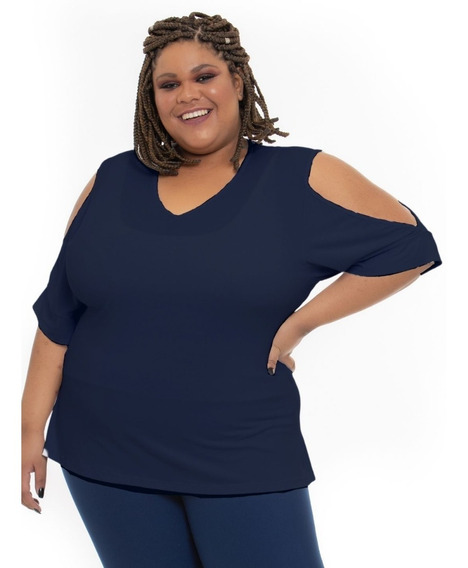 Blusa Plus Size Wonder Size Recorte Ombros Marinho