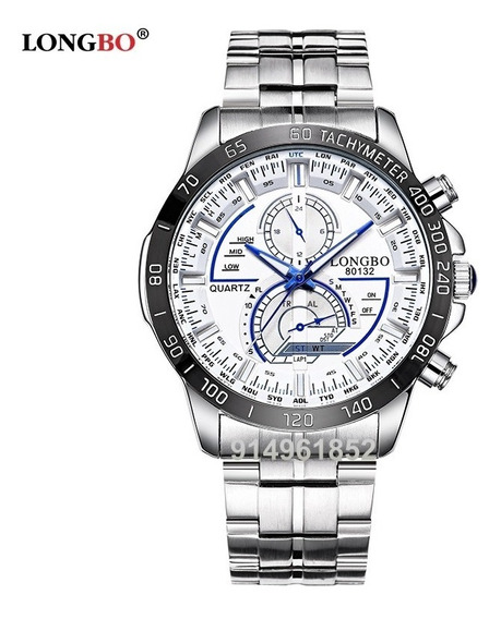Reloj Longbo Original Hombre Elegante Azul Acero Inoxidable