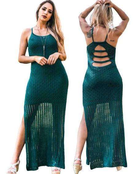 Vestido Longo De Festa Tiras Nas Costas Fendas Tricot Verão