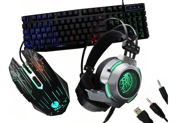 Kit Gamer Teclado Luz Led Mouse 3200dpi E Headset Hz3