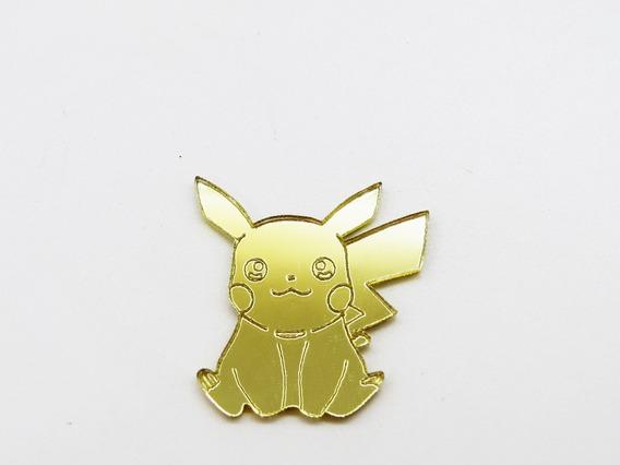 Pikachu Com Pokebola 3 Cm Acrílico Espelhado - 15 Pçs