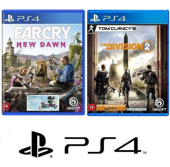 Far Cry New Dawn + The Division 2 - Midia Fisica Lacrado Ps4